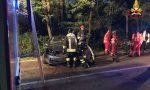 Auto contro muro, soccorso giovane di 18 anni FOTO