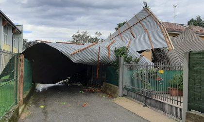 Strappato dal vento il tetto della palestra delle scuole di Venegono FOTO