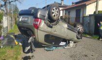 Incidente a Gorla Minore, auto ribaltata
