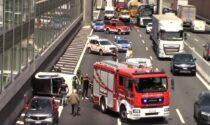 Incidente in A8 all'altezza di Olgiate Olona, auto si ribalta
