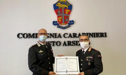 Medaglia mauriziana al comandante Caseri per i meriti conseguiti in 50 anni di servizio nell'Arma