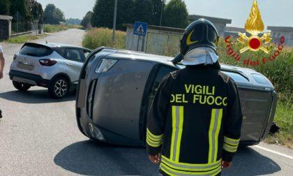 Incidente a Cirimido un'auto si ribalta