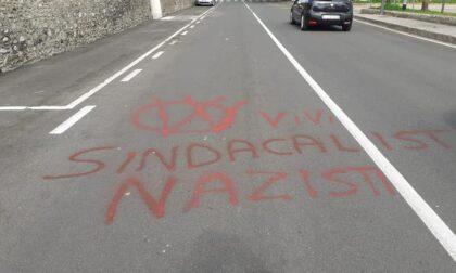 """""""I Vax uccidono"""" e """"sindacalisti nazisti"""": le scritte della vergogna davanti alla CGIL di Lomazzo"""