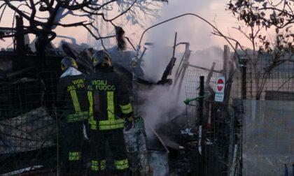 Capanno agricolo in fiamme a Cislago